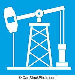 Oil derrick icon white isolated on blue background...