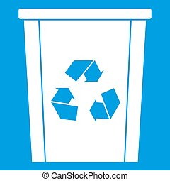 Trash bin with recycle symbol icon white