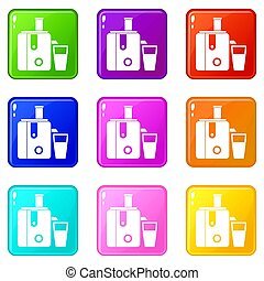 Juicer icons 9 set - Juicer icons of 9 color set isolated...
