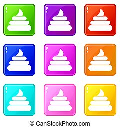 Turd icons 9 set - Turd icons of 9 color set isolated...