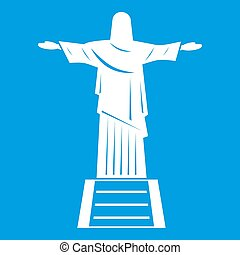 The Christ the Redeemer statue icon white