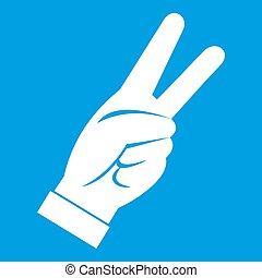 Hand showing victory sign icon white isolated on blue...