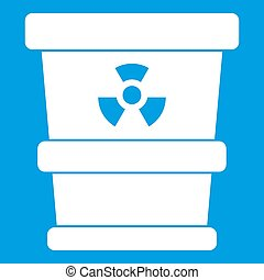 Trashcan containing radioactive waste icon white isolated on...
