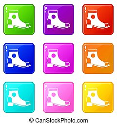 Men boot icons 9 set - Men boot icons of 9 color set...