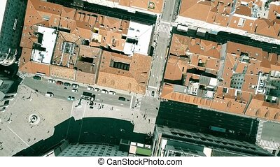 Aerial top down view of streets of Trieste, Italy - Aerial...