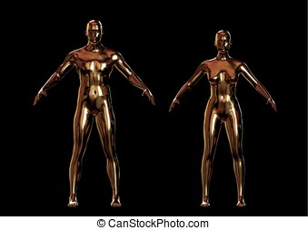 Golden metallic man and woman