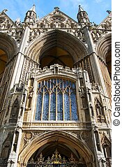 Peterborough Cathedral, UK. - West front architecture above...