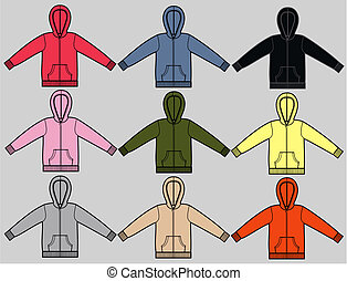 hoodies - sweater with hood a garment sketch for textile and...