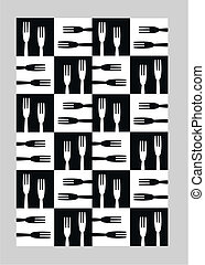 kitchen pattern - seamless kitchen pattern in black and...