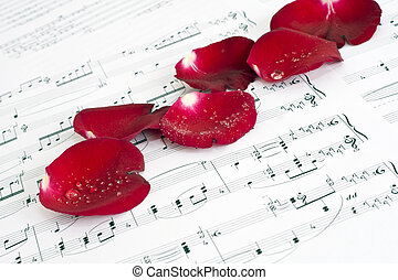 Musical score, and Rose - Music Scores and red roses