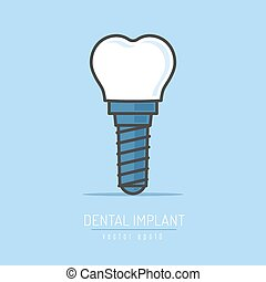 Dental implant vector illustration in simple line art style