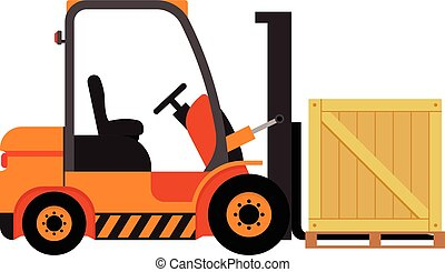Vector forklift truck with wooden box