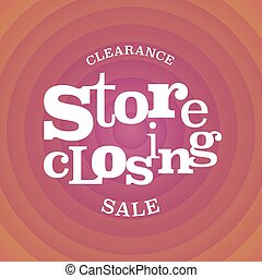Store closing vector illustration, background with op art...