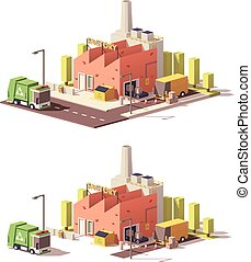 Vector low poly factory icon - Vector low poly factory with...
