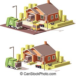 Vector low poly house icon - Vector low poly house with...