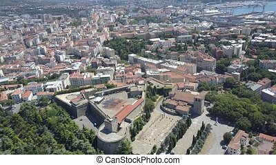 Aerial view of the city of Trieste, old fort and the...