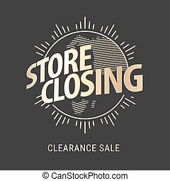 Store closing vector illustration, background with golden...