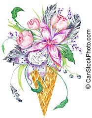 vattenfärg, Blomstrar, våffla,  Illustration, kopp