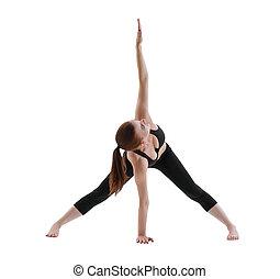 Yuong girl doing yoga isolated shot - Yuong girl in black...