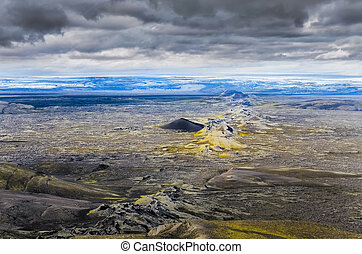 Dramatic volcanic landscape with chain of craters, Lakagigar...
