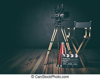 Video, movie, cinema concept. Retro camera, clapperboard and...