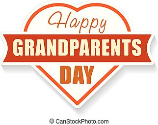 Happy Grandparents Day emblem with shape of heart and shadow. Colorful illustration for your design.