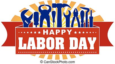 Happy Labor Day colorful celebrating banner with rays of...