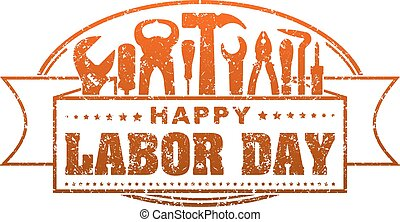 Happy Labor Day red grunge style rubber stamp with...