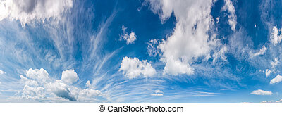 gorgeous cloudscape panorama on a blue summer sky. beautiful...
