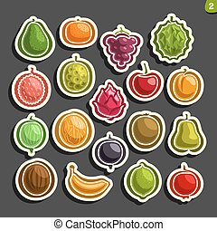 Vector Set icons of colorful Fruits and Berries: collection...
