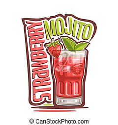 Cocktail Strawberry Mojito - Vector illustration of alcohol...