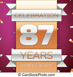 Realistic Eighty seven Years Anniversary Celebration Design....