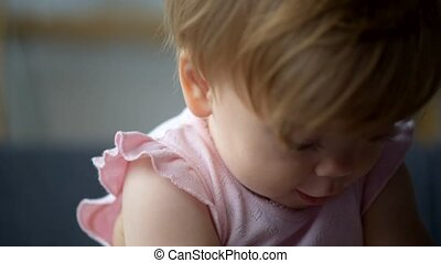 Close up of a cute nice toddler - Pure innocence. Close up...