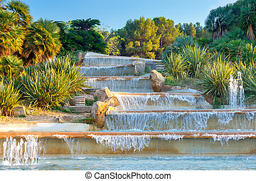Barcelona. Montjuic Hill. - Fountain in the park on the hill...