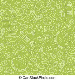 Mexican food pattern - Vector seamless pattern of mexican...
