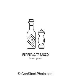 Pepper and tabasco design - Vector logo mexican traditional...