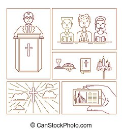 Christianity line set - Vector set of different christianity...