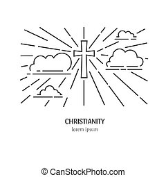 Cross in clouds - Vector christianity illustration. Cross in...