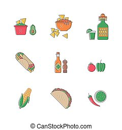 Mexican food icons - Vector set of mexican icons food in...