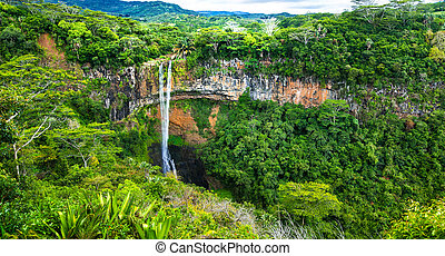 View of waterfall in National park of Mauritius Chamarel -...