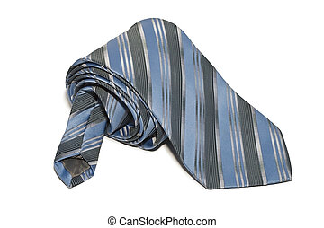 Rolled tie white background isolate