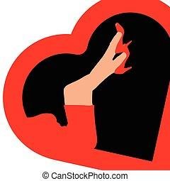 woman legs in heart illustration