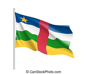 Central African Republic realistic flag - Central African...