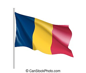 Chad realistic flag - Chad flag. Illustration of African...