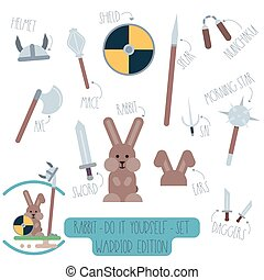 Rabbit do it yourself template with weapons.