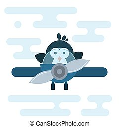 Flat penguin character stylized as a pilot in the airplane.
