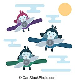 Flat penguins characters stylized as a pilots in the airplanes.