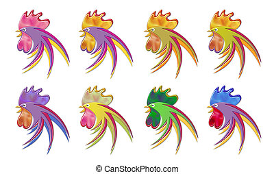 Multiple Cockrel Graphic - Multiple Colorful Chrome Cockrel...