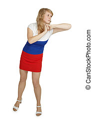 Young woman beats an elbow on white background