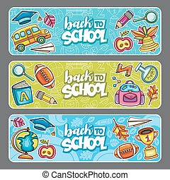 Back to school vector banners.